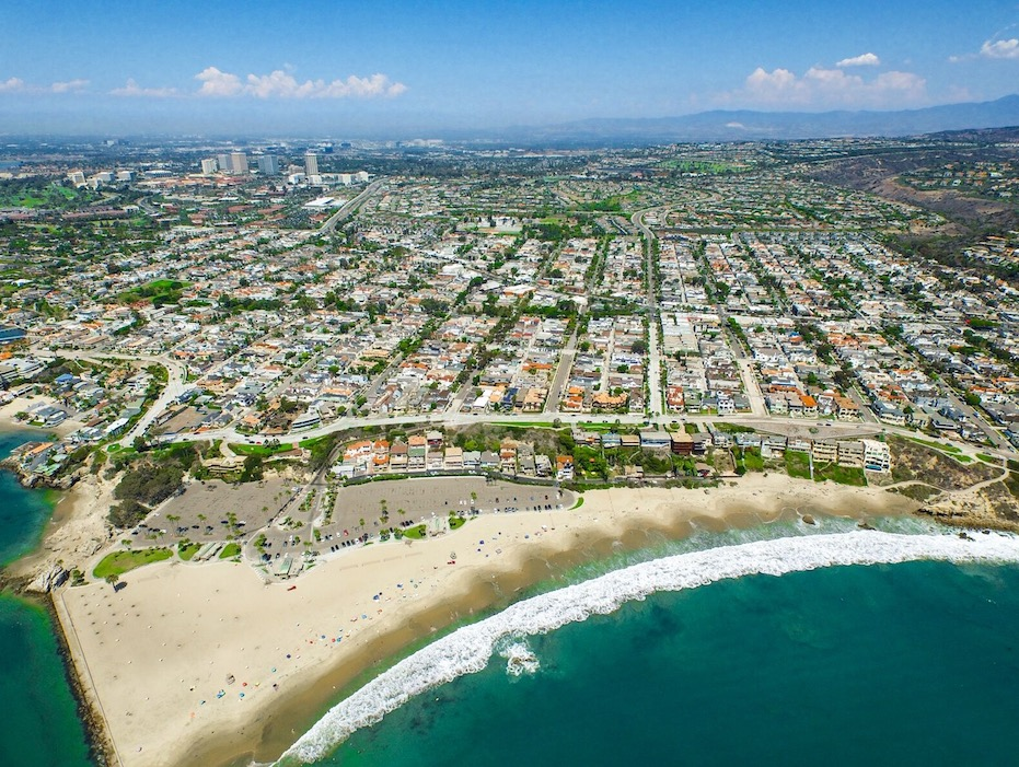 Arial view of the beach coast of Corona del Mar, California
