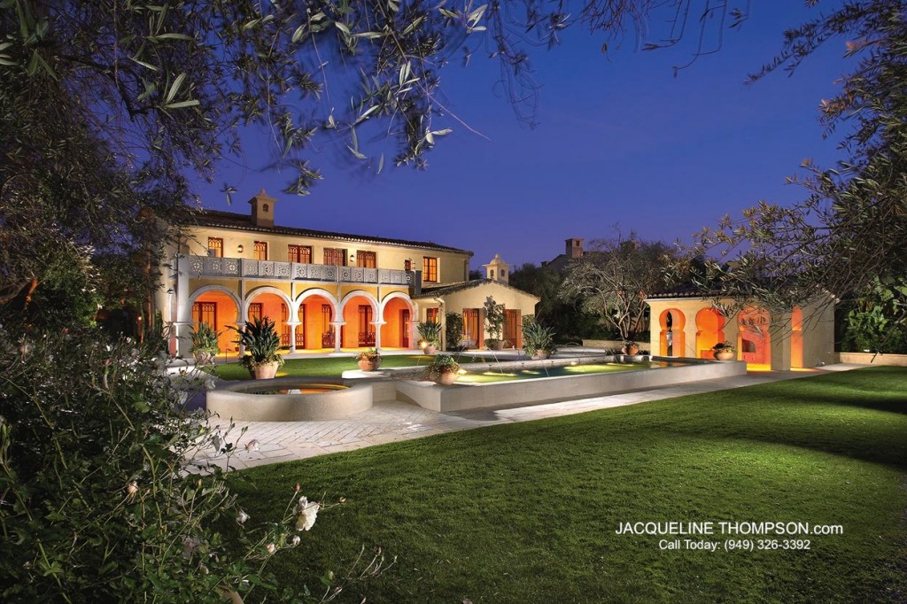 Rob Glass designed, Andalusian-style luxury home at night in Shady Canyon, California