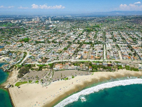 Aerial view of Corona del Mar community in Orange County, CA