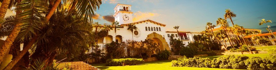 Santa Barbara Courthouse at sunset. A historic example of Santa Barbara Style architecture