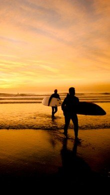 surfers at Newport Beach at sunset