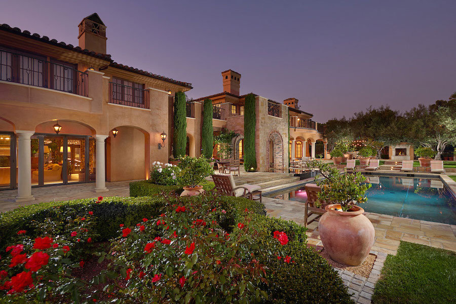 Backyard view of 6 Shoreview located in Pelican Point, Newport Beach California.