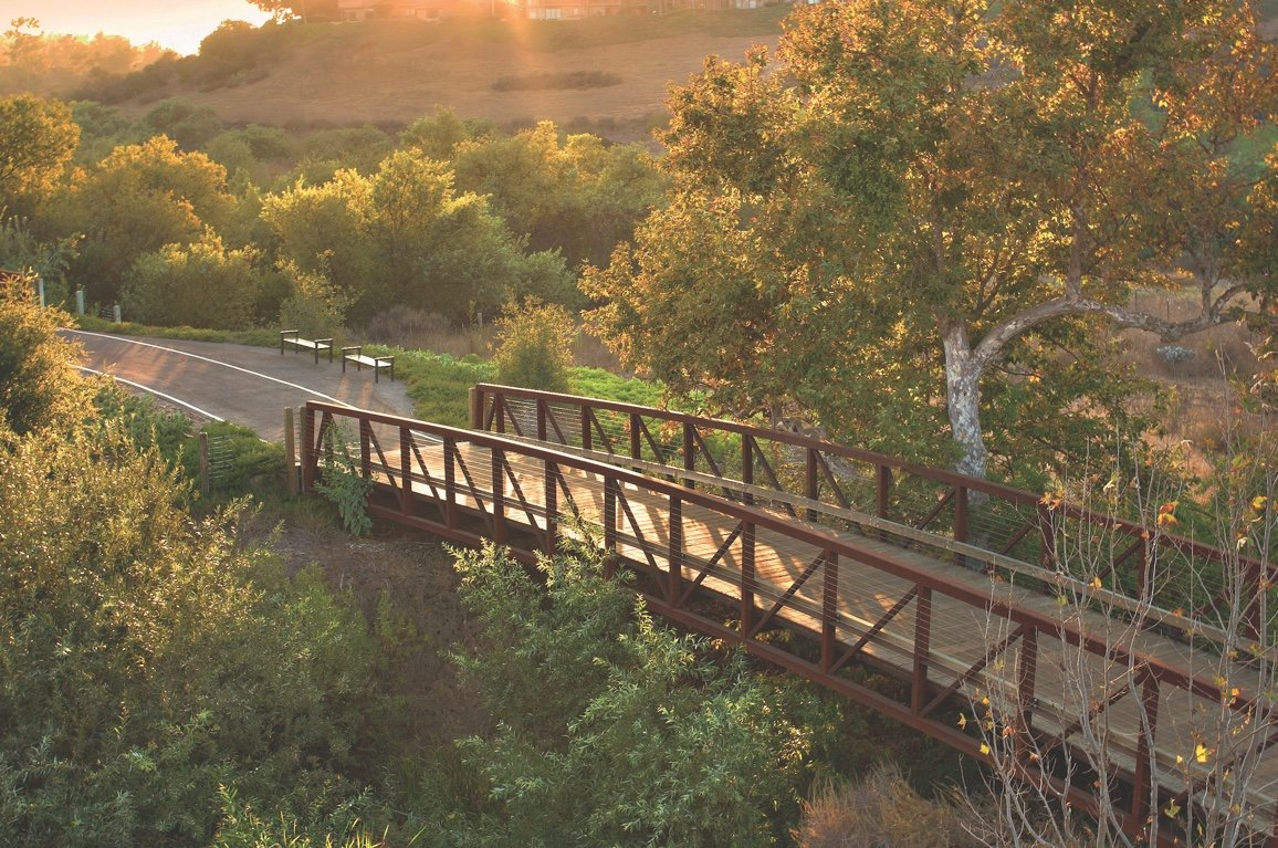 Daytime view of bridge on bike path in Shady Canyon, Irvine California