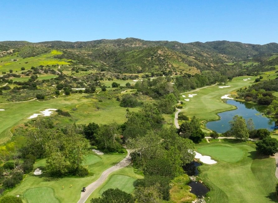 Aerial view of Shady Canyon Golf Course in Irvine, California